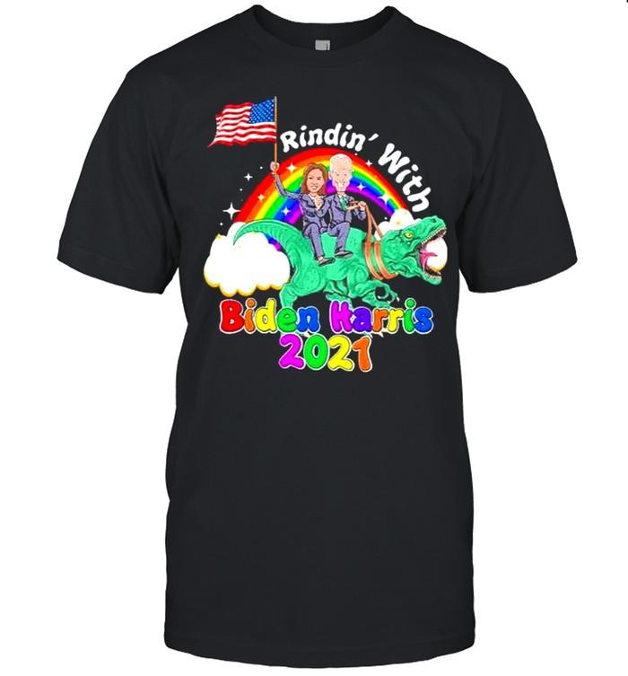 Riding dinosaur with biden harris 2021 46th president madam vice president shirt Classic Men's T-shirt
