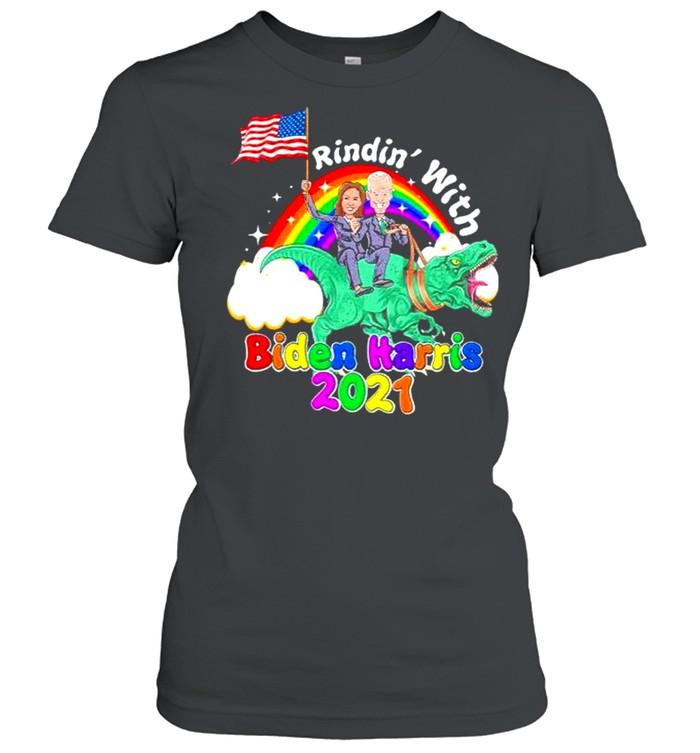 riding dinosaur with biden harris 2021 46th president madam vice president shirt classic womens t shirt