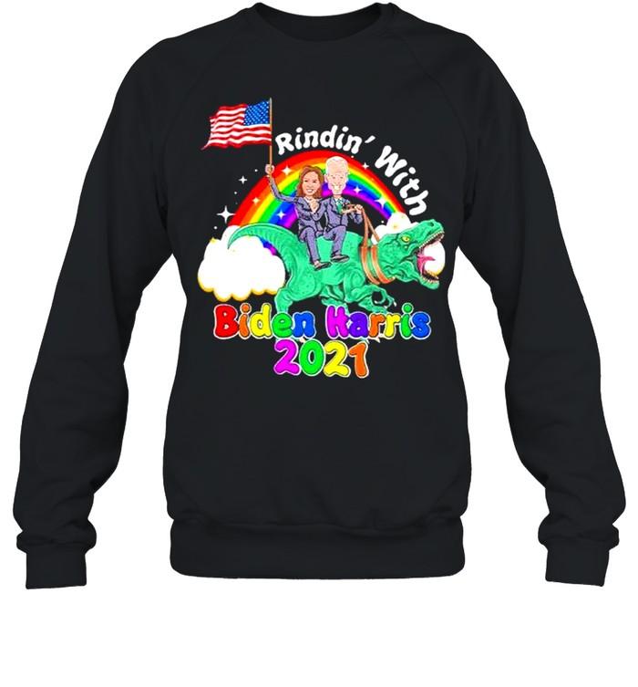 riding dinosaur with biden harris 2021 46th president madam vice president shirt unisex sweatshirt