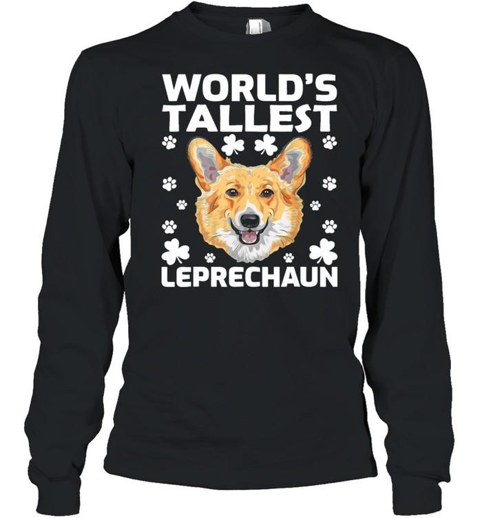 worlds tallest leprechaun corgi dog st patricks day shirt long sleeved t shirt