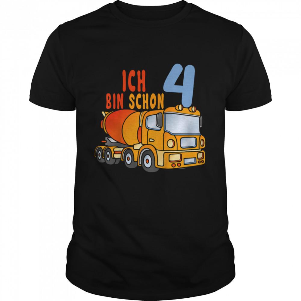Kinder Ich Bin Schon 4 Junge LKW Zementmischer shirt Classic Men's T-shirt