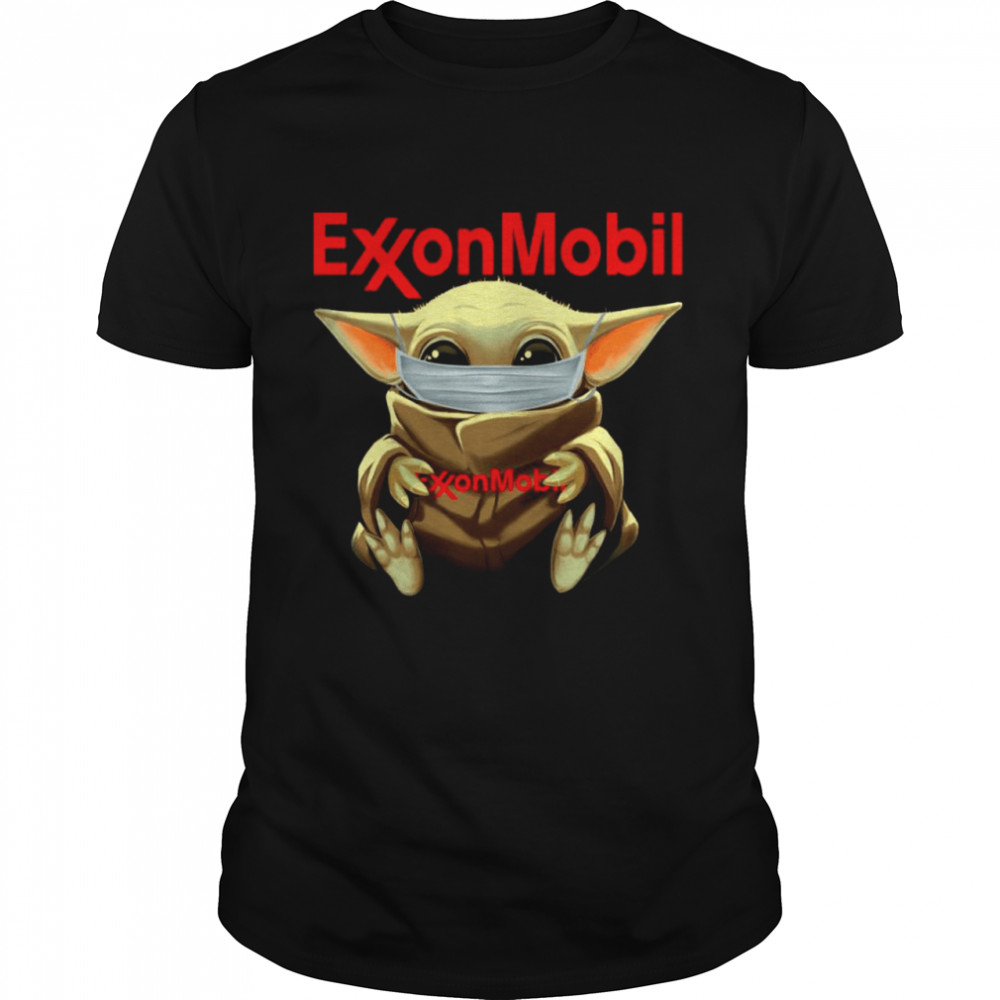 Baby Yoda Face Mask Hug Exxon Mobil I Can't Stay At Home  Classic Men's T-shirt