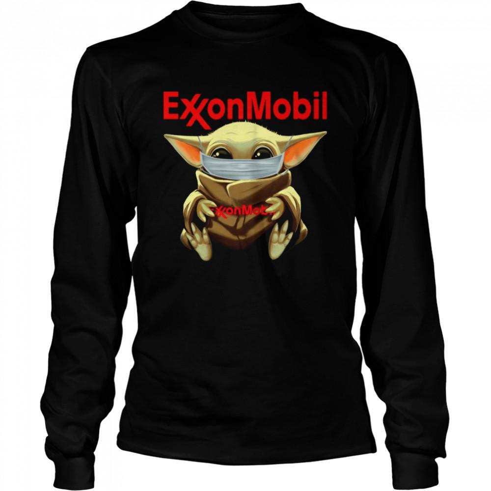 baby yoda face mask hug exxon mobil i cant stay at home  long sleeved t shirt