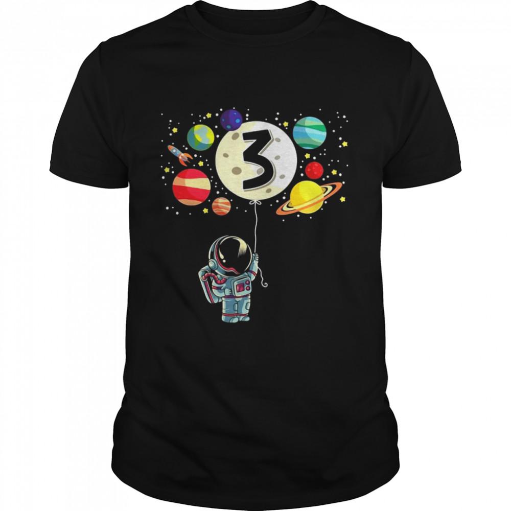 3 Years Old Birthday Boy Gifts Astronaut 3Rd Birthday T-shirt Classic Men's T-shirt