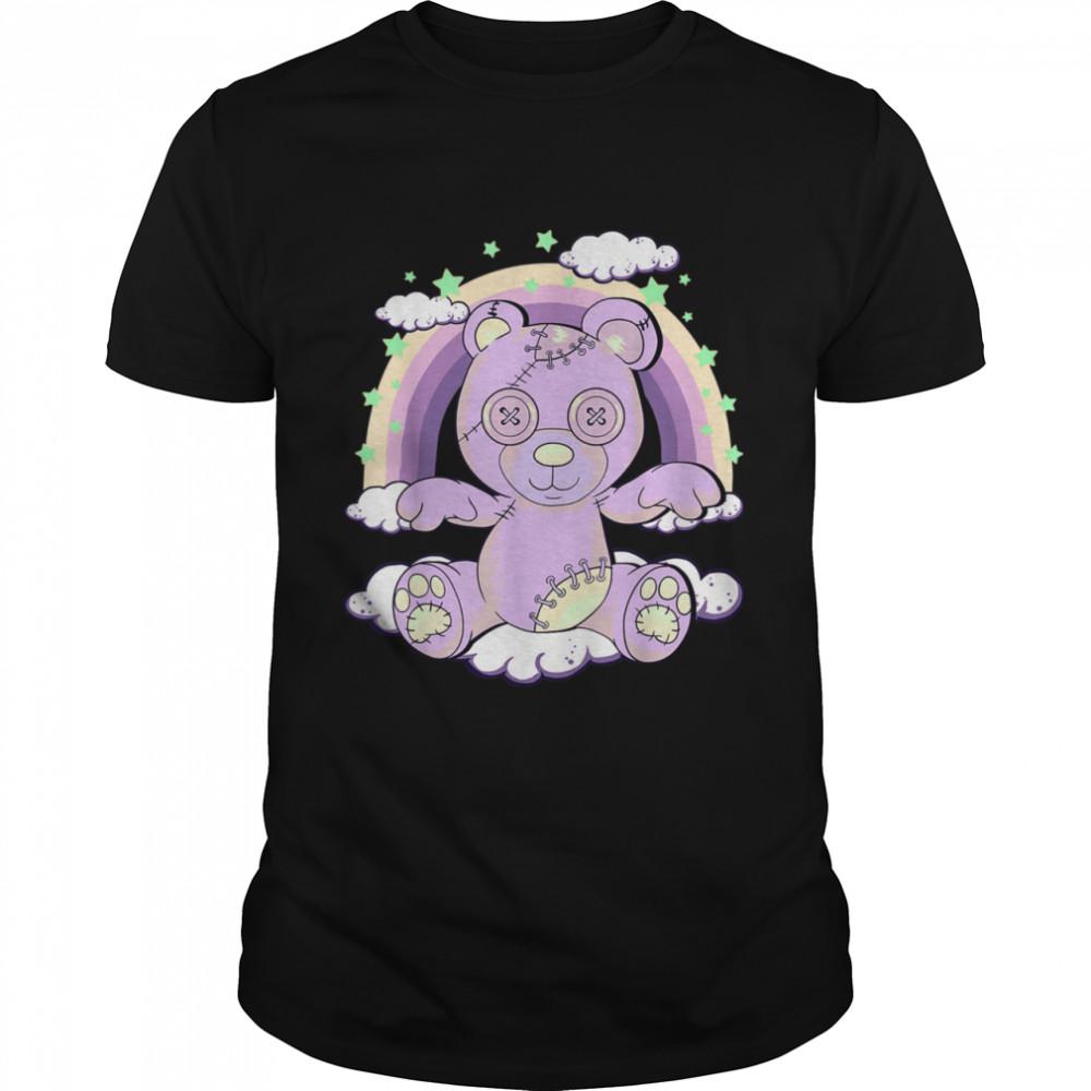 Kawaii Pastel Goth Creepy Teddy Bear on Rainbow Clouds  Classic Men's T-shirt