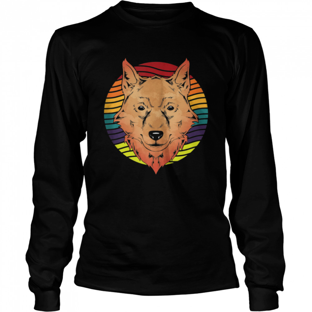 Retro Forest Animal Wolf shirt Long Sleeved T-shirt