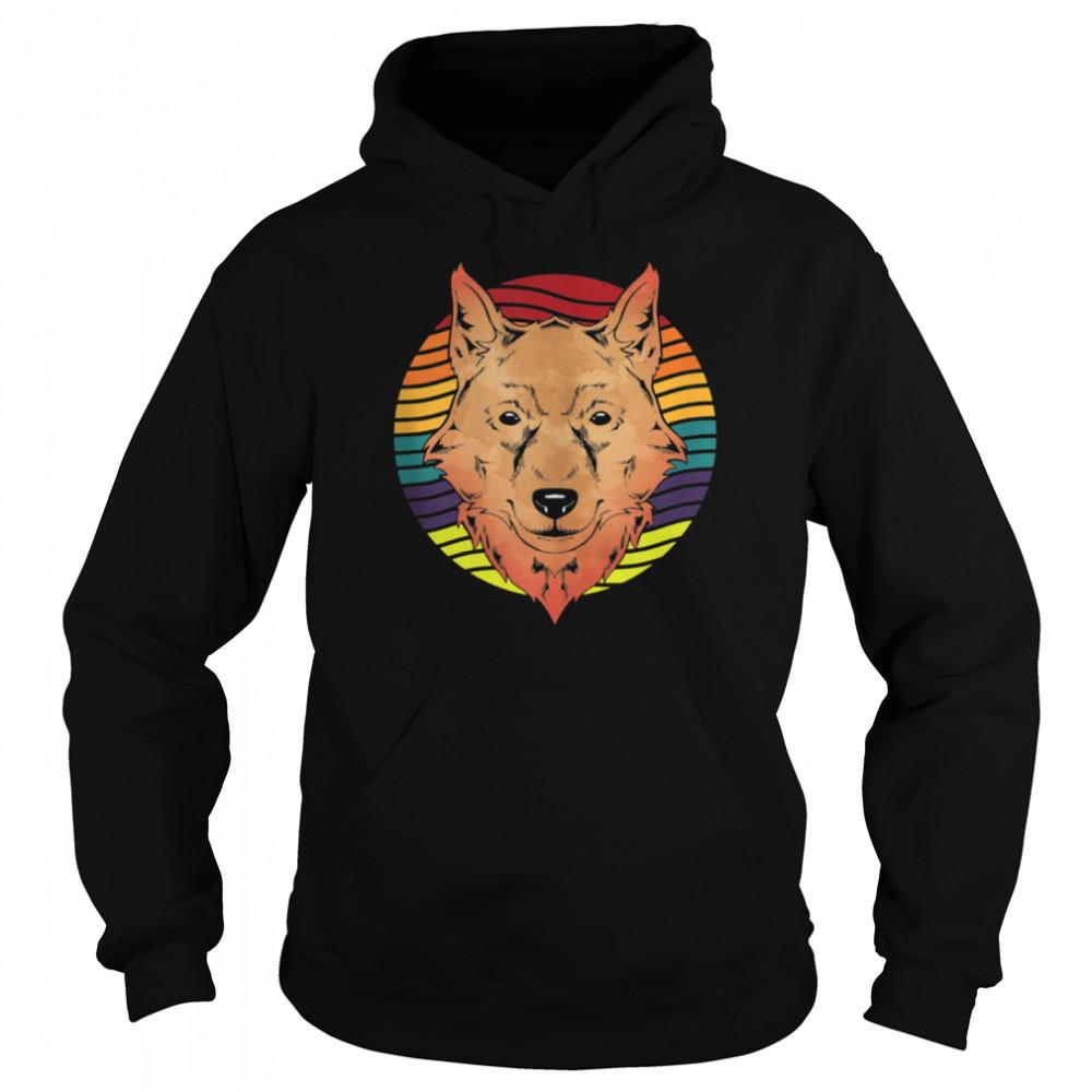 Retro Forest Animal Wolf shirt Unisex Hoodie