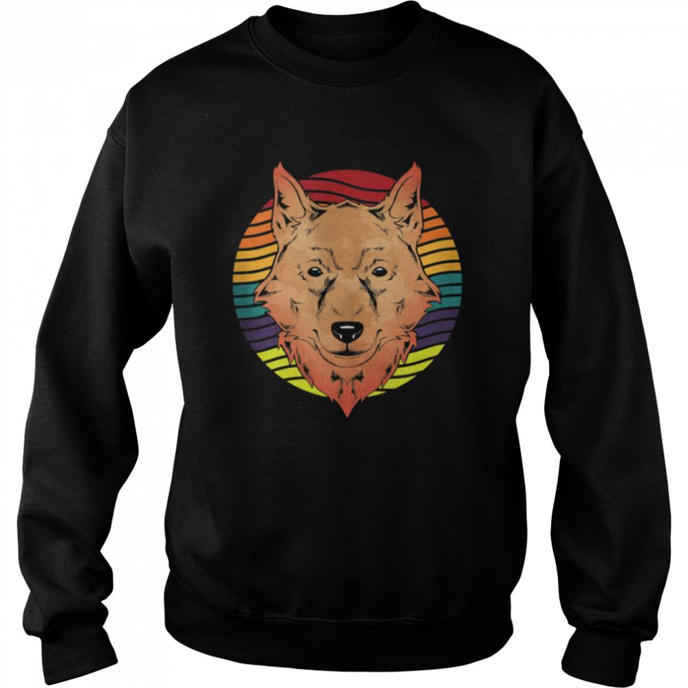 Retro Forest Animal Wolf shirt Unisex Sweatshirt
