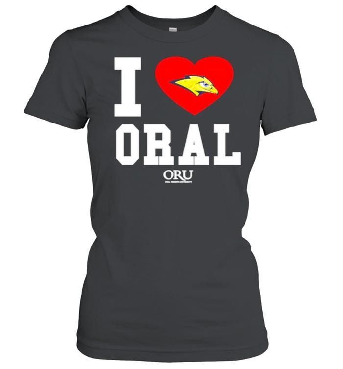 i love oral roberts golden eagles oru shirt classic womens t shirt