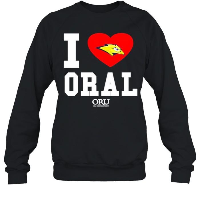 i love oral roberts golden eagles oru shirt unisex sweatshirt