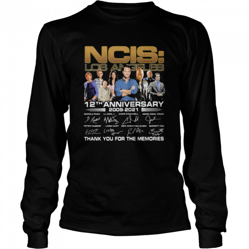 ncis los angeles 12th anniversary 2009 2021 thank you for the memories signature  long sleeved t shirt