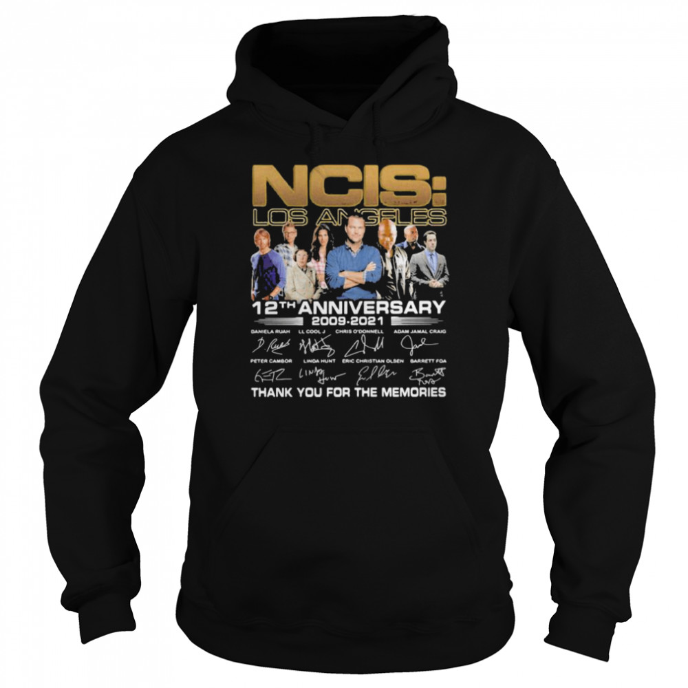 ncis los angeles 12th anniversary 2009 2021 thank you for the memories signature  unisex hoodie