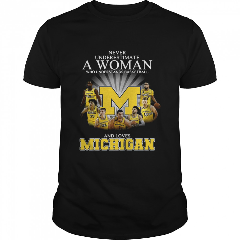 Never Underestimate A Woman Who Understands Basketball And Loves Michigan shirt Classic Men's T-shirt