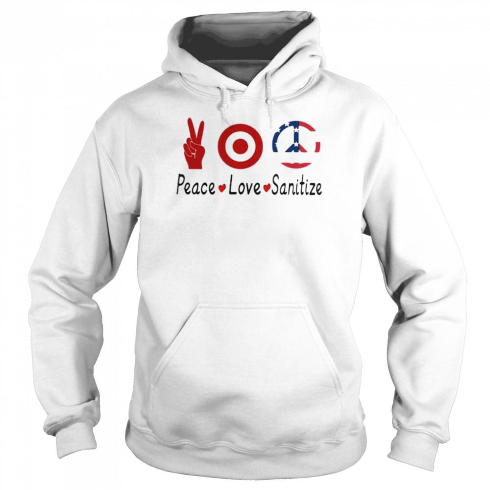 peace love sanitize target  unisex hoodie