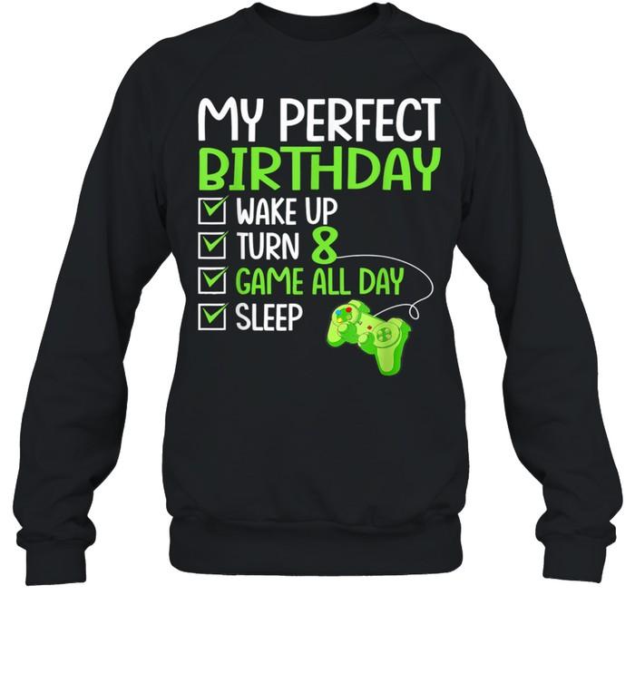 8th perfect birthday gaming 8 years old gamer shirt unisex sweatshirt