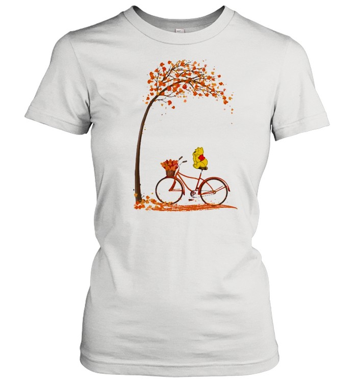 autumn pooh bicycle  classic womens t shirt