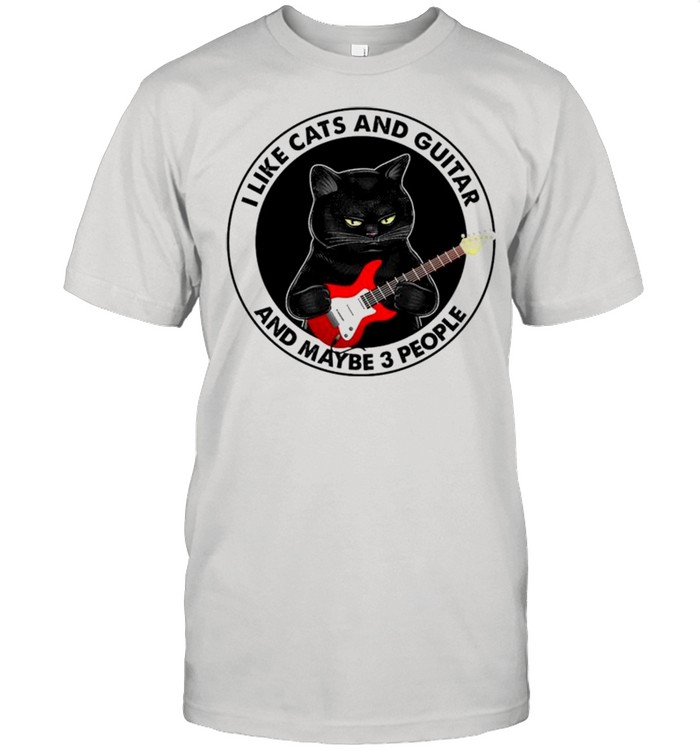 Black cat I like cats and guitar and maybe 3 people shirt Classic Men's T-shirt