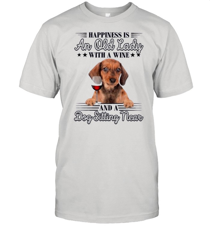 Happiness is an old Lady with a Wine And a Dog Sitting Near shirt Classic Men's T-shirt