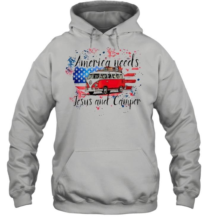 america needs jesus and camper shirt unisex hoodie