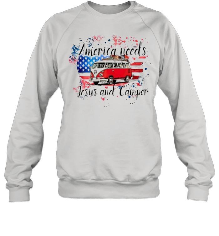 america needs jesus and camper shirt unisex sweatshirt