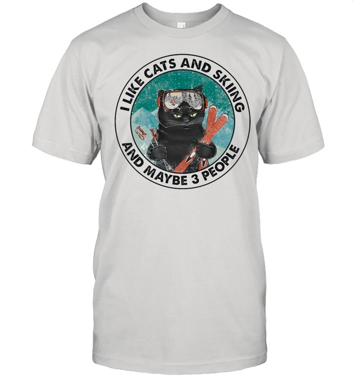 Black Cat I Like Cats And Skiing And Maybe Three People shirt Classic Men's T-shirt