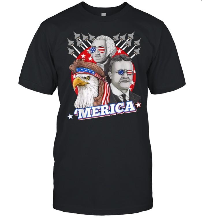 Washington Roosevelt Bald Eagle 4th Of July Patriotic Merica  Classic Men's T-shirt