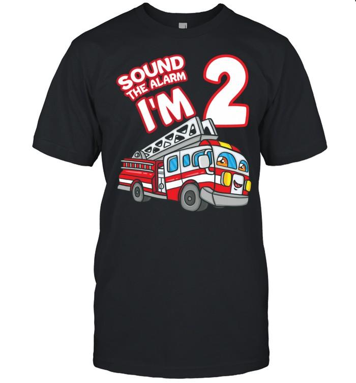 Sound The Alarm I'm 2 Fire Engine Firefighter 2nd Birthday shirt Classic Men's T-shirt
