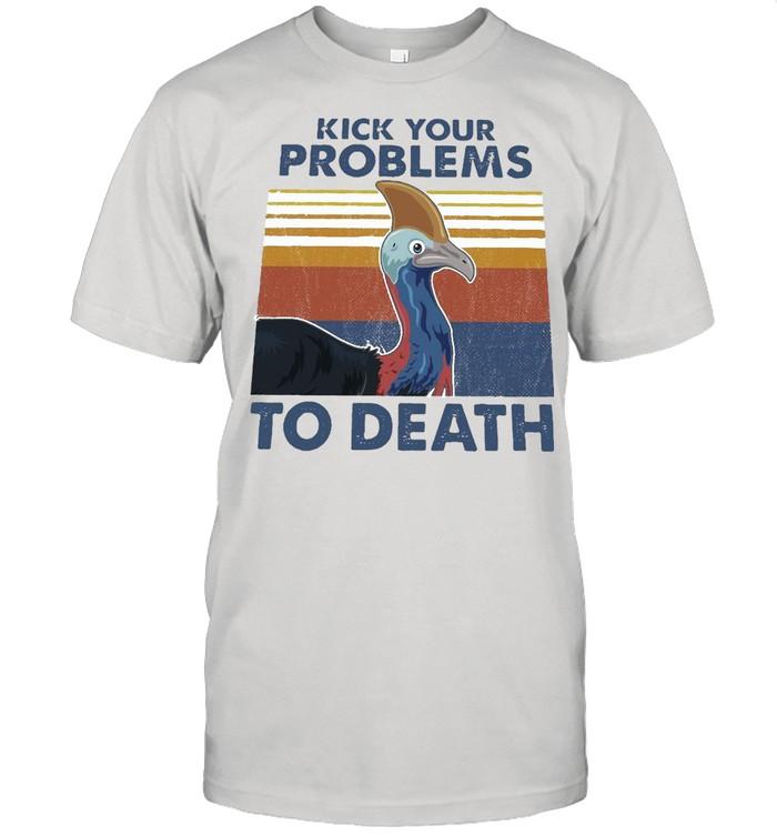 Cassowary Kick Your Problems To Death Vintage Retro T-shirt Classic Men's T-shirt