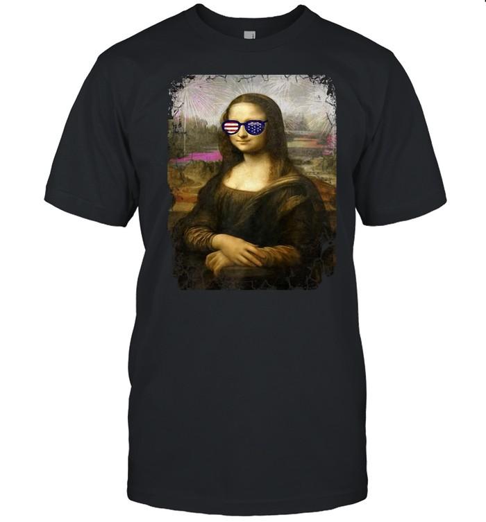 Art Meme Mona Lisa American Flag Sunglasses T-shirt Classic Men's T-shirt