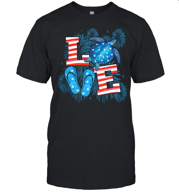 Love Turtle Firework 4th Of July American Flag shirt Classic Men's T-shirt
