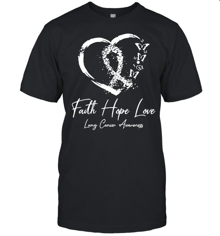 White Ribbon Faith Hope Love Support Lung Cancer Warrior T-shirt Classic Men's T-shirt