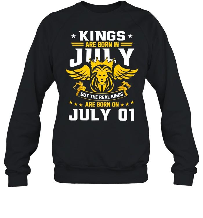 real kings are born on july 1st birthday shirt unisex sweatshirt