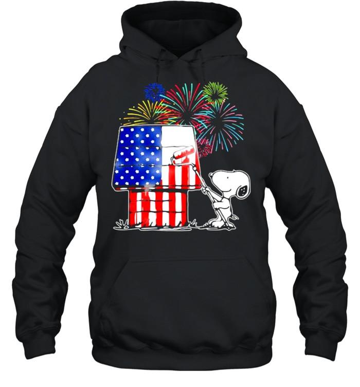 House Snoopy Firework American Flag  Unisex Hoodie