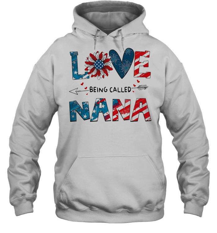 love being called nana sunflower 4th of july shirt unisex hoodie
