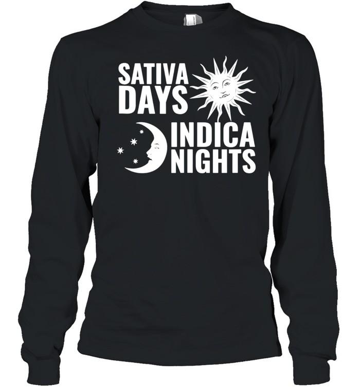 sativa days indica nights sun moon stoner shirt long sleeved t shirt