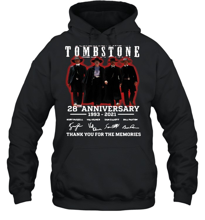 28 Years 1993-2021 Funny Tombstone Signature Thank You For The Memories  Unisex Hoodie
