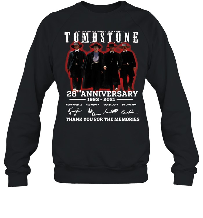 28 Years 1993-2021 Funny Tombstone Signature Thank You For The Memories  Unisex Sweatshirt