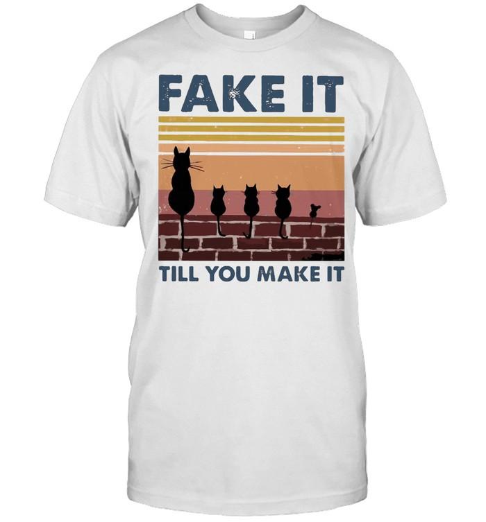 Black Cat Fake It Till You Make It Vintage  Classic Men's T-shirt
