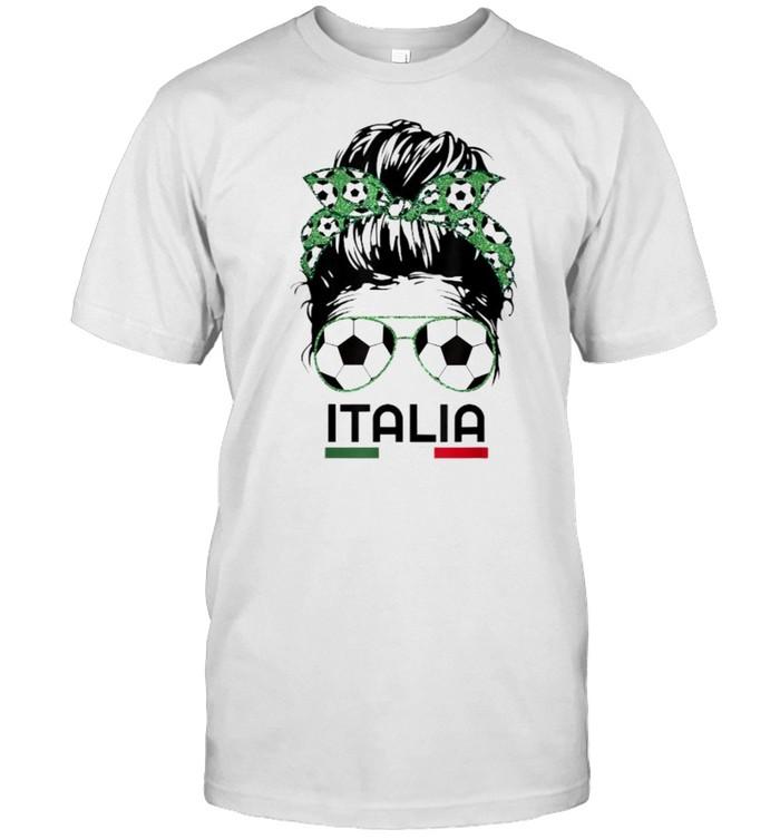 Italia messy bun Football Italian soccer lover T- Classic Men's T-shirt