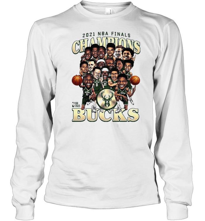 Meme Milwaukee Bucks 2021 NBA Finals Champions Team Caricature Roster shirt Long Sleeved T-shirt
