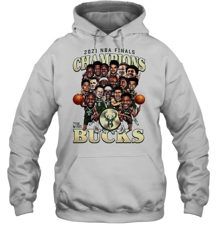 Meme Milwaukee Bucks 2021 NBA Finals Champions Team Caricature Roster shirt Unisex Hoodie