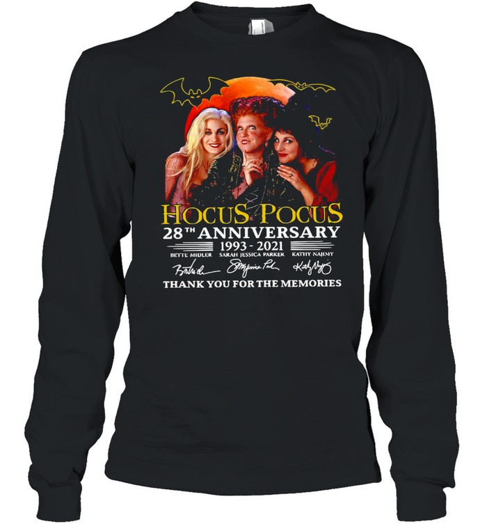 Hocus Pocus 28th Anniversary 1993-2021 Thank You For The Memories Signatures T-shirt Long Sleeved T-shirt