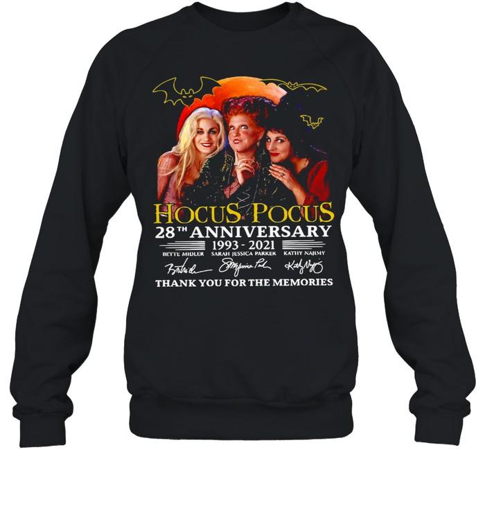 Hocus Pocus 28th Anniversary 1993-2021 Thank You For The Memories Signatures T-shirt Unisex Sweatshirt