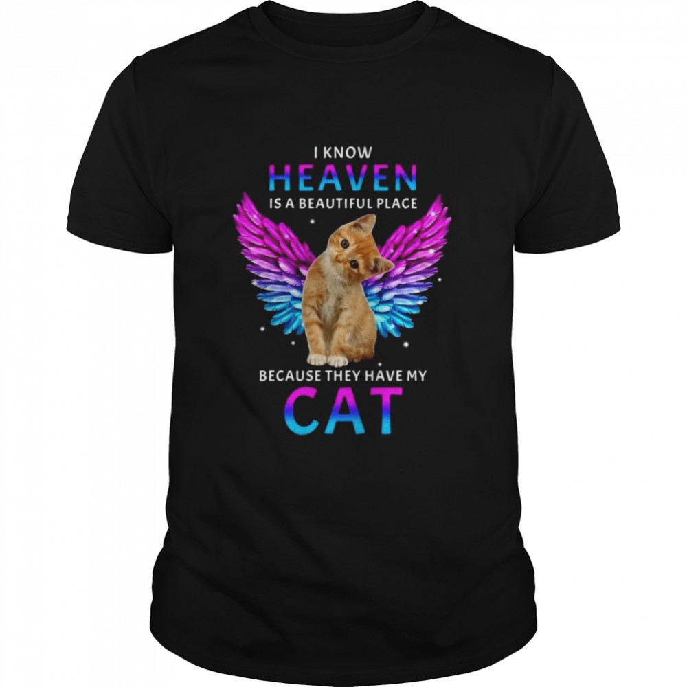 Cat Angel I Know Heaven Is A Beautiful Place Because They Have My Cat T-shirt Classic Men's T-shirt