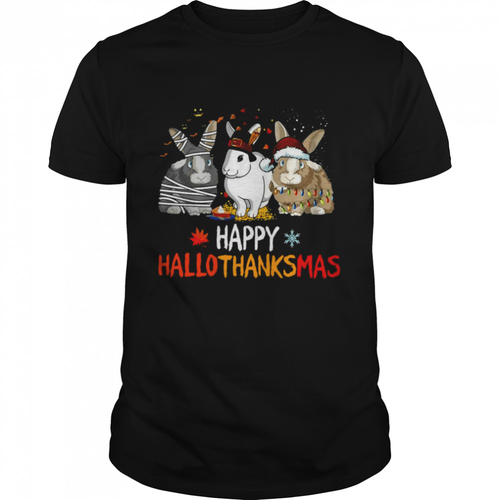 Rabbit Happy HalloThanksMas Christmas Halloween  Classic Men's T-shirt